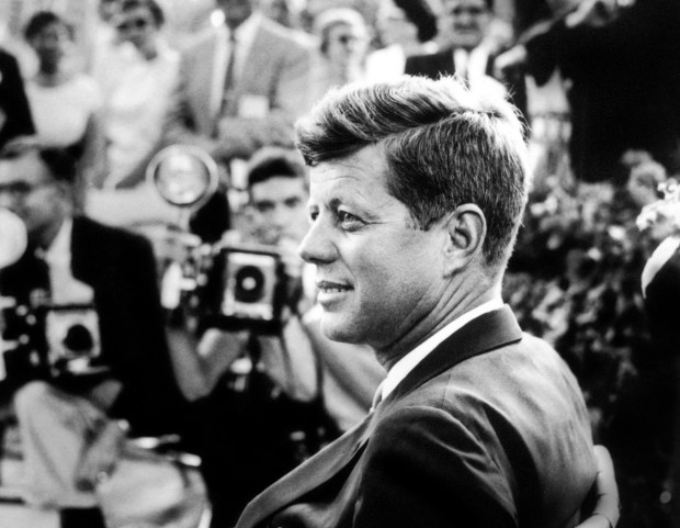 John F. Kennedy holds a news conference in Omaha in 1959, the year before he was elected president.