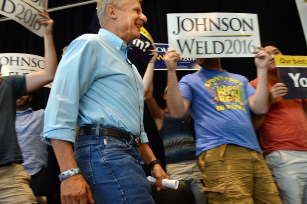 Gary Johnson, Libertarian candidate for president, arrives to speak at the University of Utah Student Union on Aug. 6 in Salt Lake City.