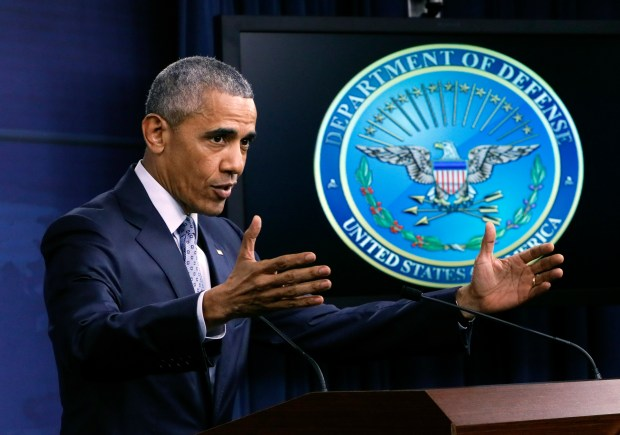 President Obama speals during a news conference Thursday at the Pentagon.