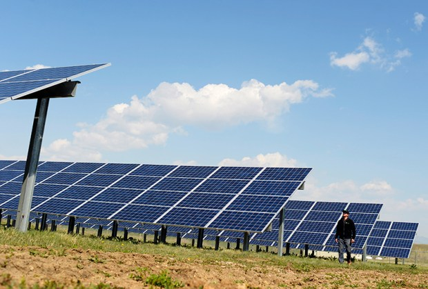 An employee of Clean Energy Collective stands next to a solar garden southeast of Boulder on April 22, 2015.