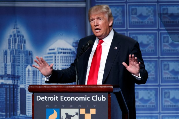 Republican presidential nominee Donald Trump delivers an economic policy speech last Monday in Detroit.