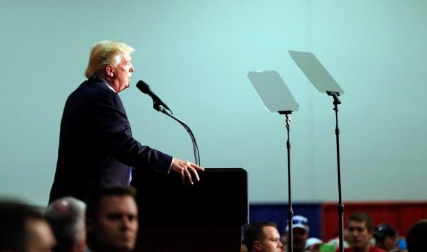 Republican presidential nominee Donald Trump speaks at a campaign rally in Fredericksburg, Va., on Saturday.