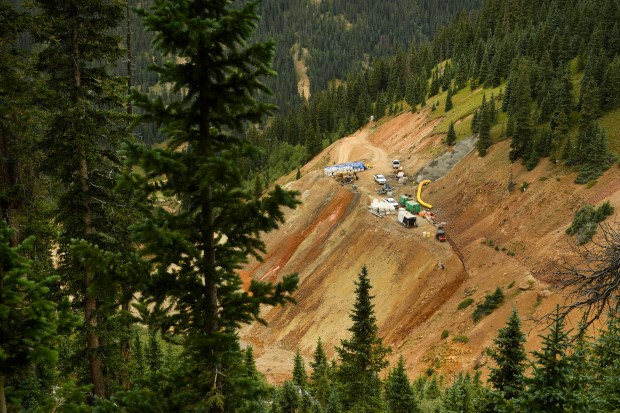 The Gold King Mine can be seen from above on August 17, 2016 near Silverton, Colorado. A mining and safety team contracted by the Environmental Protection Agency is working on the mine north of Silverton with heavy equipment to secure and consolidate a safe way to enter the mine and access contaminated water.