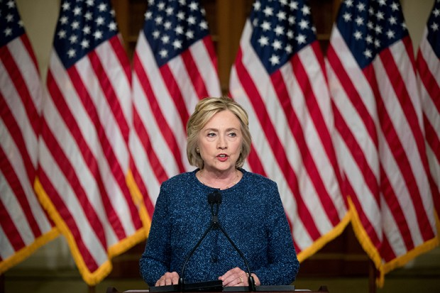 Democratic presidential nominee Hillary Clinton speaks to the media last Friday in New York.