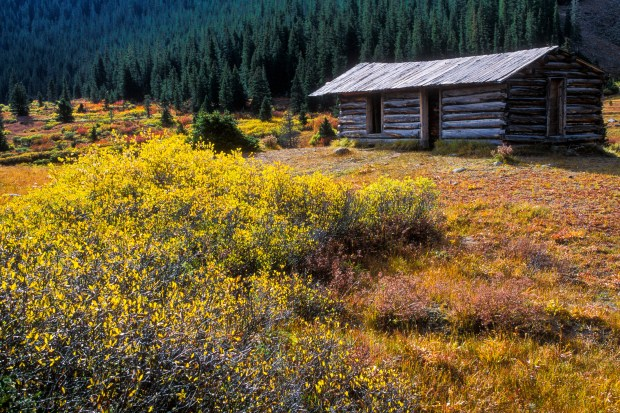 An abandoned cabin stands in the ghostly townsite of Independence near Independence Pass above Aspen, Colorado.