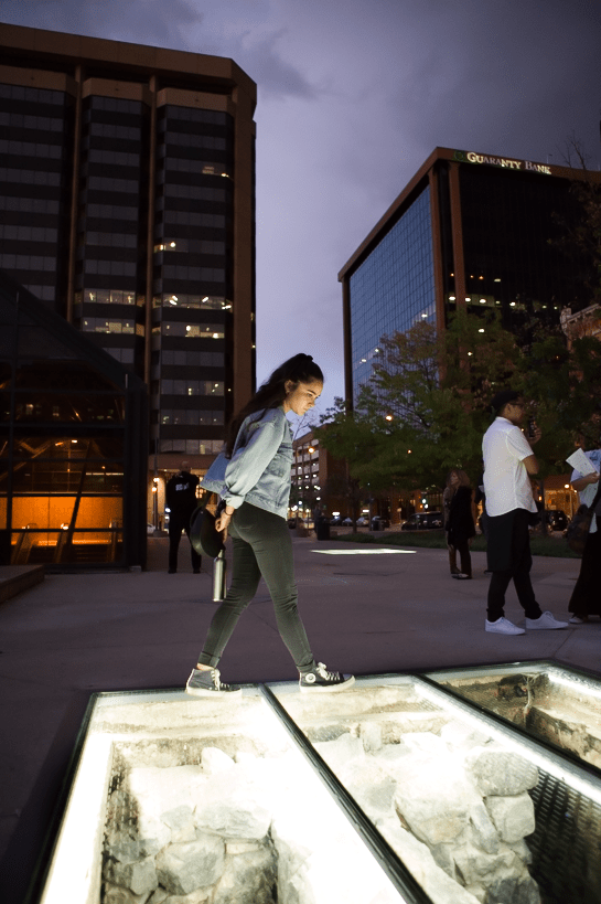 "The ""Unclassified"" art installation is seen in Denver."
