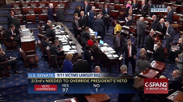 This frame grab from video provided by C-SPAN2, shows the floor of the U.S. Senate on Wednesday, as the Senate acted decisively to override President Obama's veto of Sept. 11 legislation.