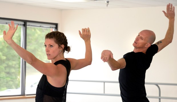 Robert Sher-Machherndl of the Lemon Sponge Cake Ballet rehearses his work White Fields with Bailey Harper at the Kinesis Dance Studio in Boulder in August of 2016.