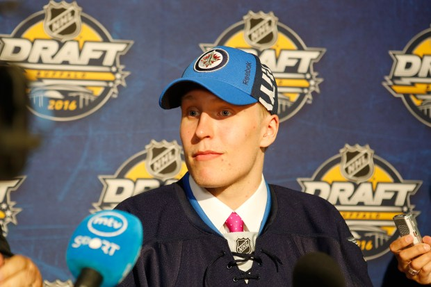 Patrik Laine gives an interview after being selected second by the Winnepeg Jets