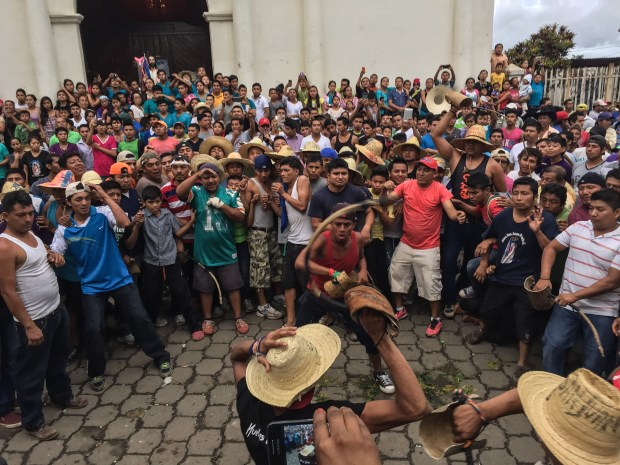 Men in San Juan de Oriente, Nicaragua, participate in chilillo fights -- an unusual aspect of the town's annual fiestas patronales to celebrate John the Baptist, the town's patron saint.