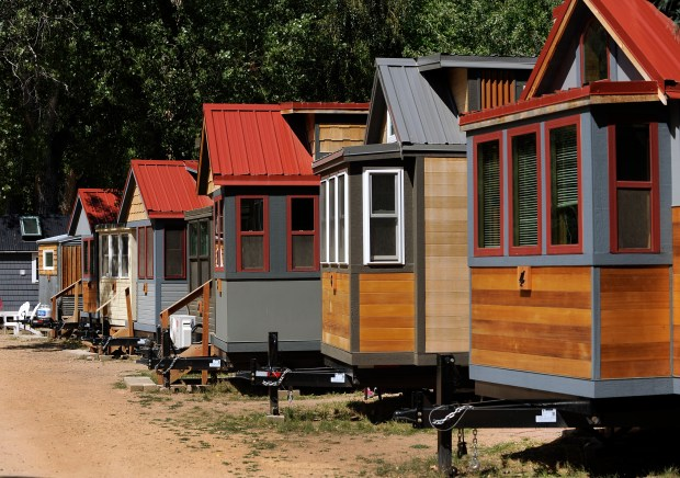 Several of the tiny hotels line the roadway at the site. WeeCasa Tiny Home Hotel hosts a tiny home tour in Lyons on Saturday, August 27, 2016.