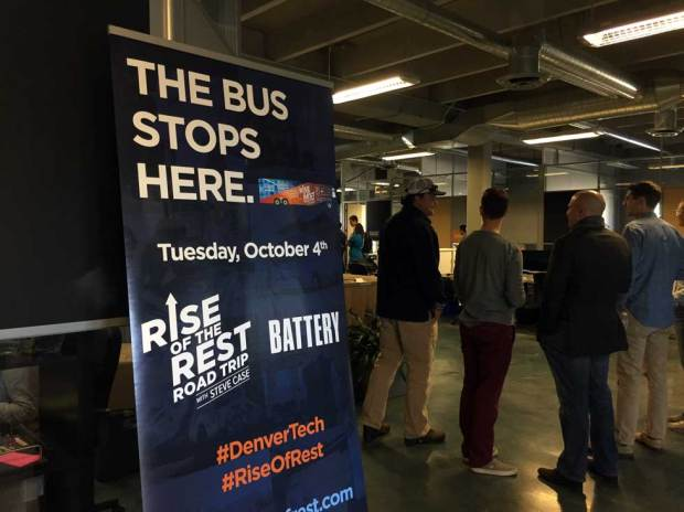 Denver entrepreneurial workspace Battery 621 printed a sign to welcome Aol co-founder Steve Case on Oct. 4, 2016.