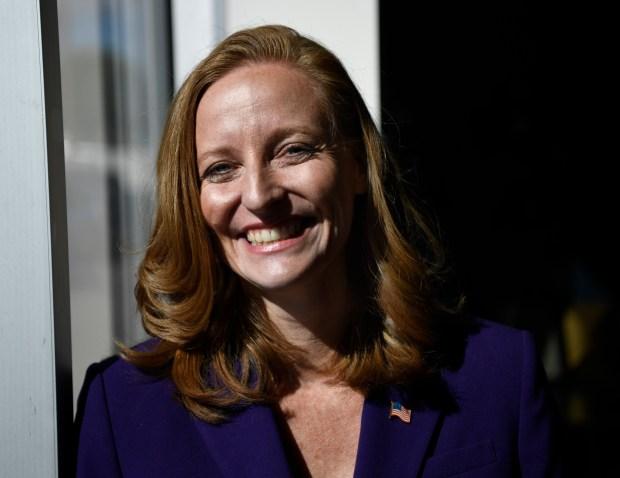 Morgan Carroll, Democratic challenger to U.S. Rep. Mike Coffman at Univision October 4, 2016.