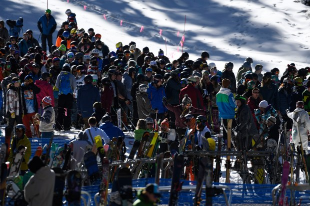 Big crowds at Arapahoe Basin ski area on opening day October 21, 2016. One run was open on a perfect bluebird day at A-Basin.