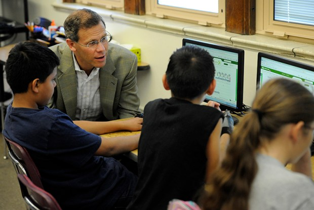 Denver Public Schools Superintendent Tom Boasberg talks to math students at West Generation Academy on the West High School campus in 2012. Denver schools are asking voter to pass a bond issue and mill levy this fall.
