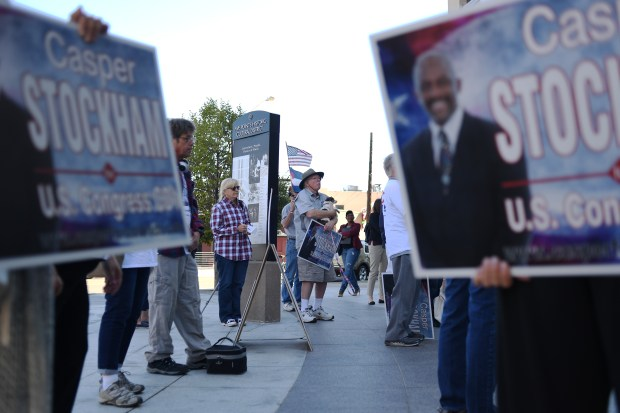 People gather to support Casper Stockham during a campaign rally in Five Points, Sept. 12, 2016.