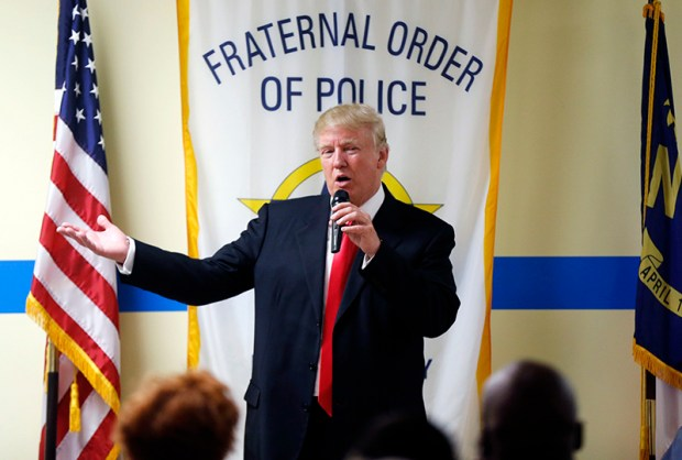 Republican presidential nominee Donald Trump speaks to retired and active law enforcement personnel at a Fraternal Order of Police lodge during a campaign stop in Statesville, N.C., on Aug. 18.