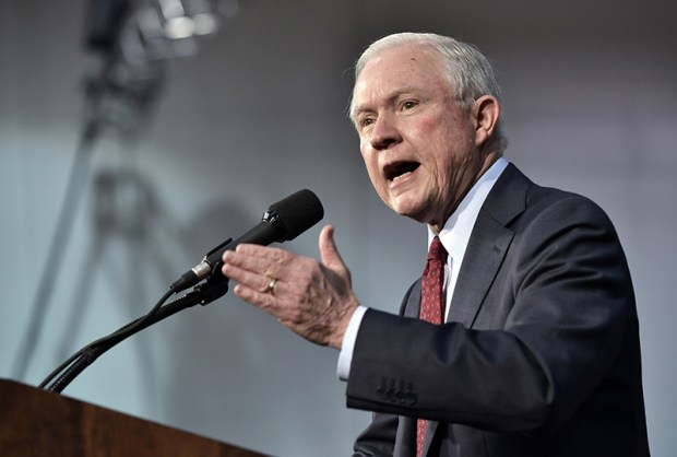Sen. Jeff Sessions, R-Ala., speaks at a rally for Republican presidential nominee Donald Trump at in Ambridge, Pa., on Monday.