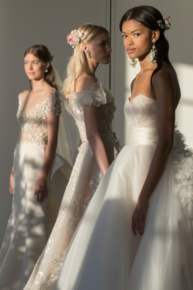 In this Wednesday, Oct. 5, 2016 photo, the Marchesa bridal collection is modeled during bridal fashion week in New York.