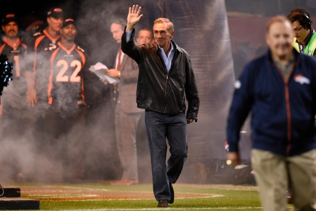 Former Broncos head coach Mike Shanahan is announced as the 1997 Broncos team is honored before the game. The Denver Broncos played the Green Bay Packers at Sports Authority Field at Mile High in Denver on Nov. 1, 2015.