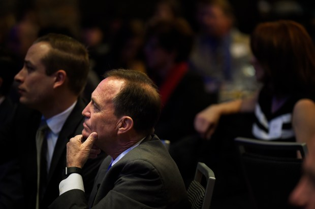 U.S. Representative Ed Perlmutter listens during the Zillow housing road map to 2016 in the Curtis Hotel, Four Squares Ballroom talking about Denver's housing affordability and the growth in the area.
