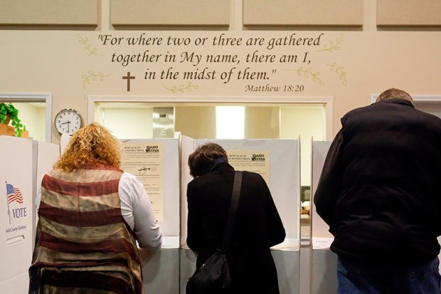Voters cast their ballots at Ustick Baptist Church in Boise, Idaho, on Nov. 8. Donald Trump reportedly received 81 percent of the white evangelical vote in this year's election.