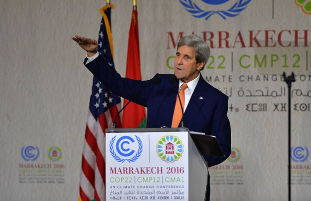 Secretary of State John Kerry delivers a speech on Nov. 16 at the COP22 climate change conference in Marrakesh, Morocco.