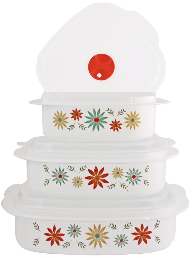 The Corelle Storage Set -- which comes in floral, leaf and geometric patterns -- is freezer, microwave and dishwasher safe.