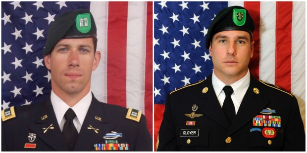 Capt. Andrew D. Byers, left, and Sgt. 1st Class Ryan Allen Gloyer