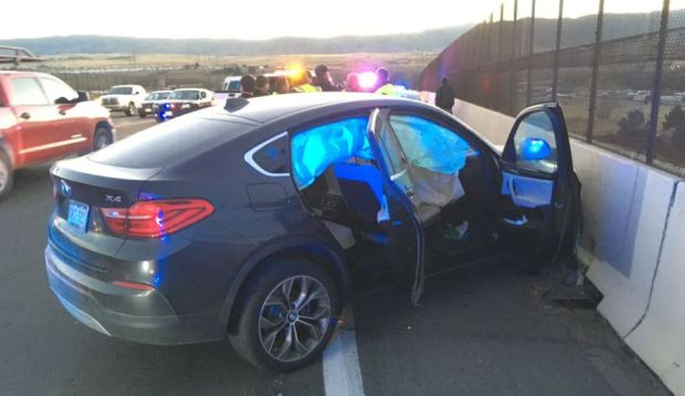 The stolen sedan crashed into a highway divide in the area of U.S. 85 and Titan Road on Nov. 30, 2016.