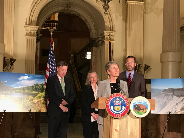U.S. Secretary of the Interior Sally Jewell and Bureau of Land Management officials joined Colorado Governor John Hickenlooper in the state capitol Thursday morning to announce final decisions on oil and gas development in western Colorado