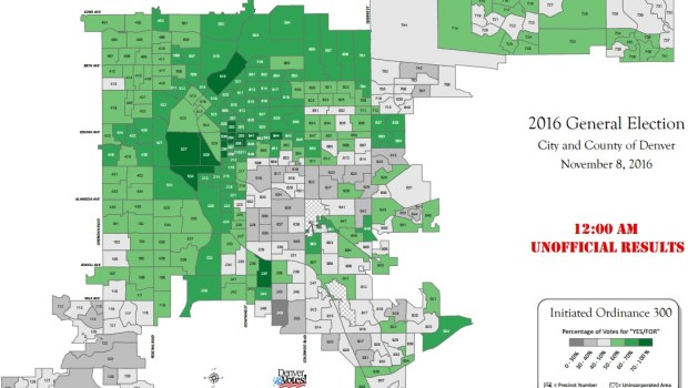 A map shows support (green) and opposition (gray) in each precinct for Initiative 300 as of Nov. 14, 2016.