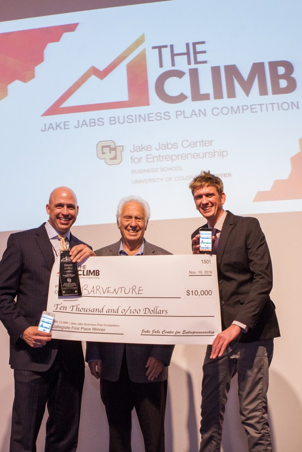 Barventure won the top award in The Climb business competition, sponsored by The Jake Jabs Center for Entrepreneurship at the University of Colorado Denver Business School. Jabs, founder of American Furniture Warehouse, presented the giant checks.