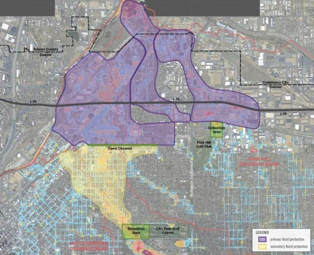 A city-produced map shows that areas shaded purple, north of a planned open channel along 39th Avenue, would receive the greatest increased flood protection under Denver's Platte to Park Hill drainage plans. Areas shaded yellow, between City Park and the 39th Avenue channel, would receive secondary flood protection.