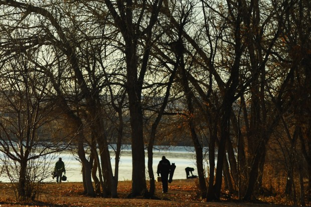 Fishermen head out for a day at the lake at Chatfield State Park, Nov. 25, 2016.