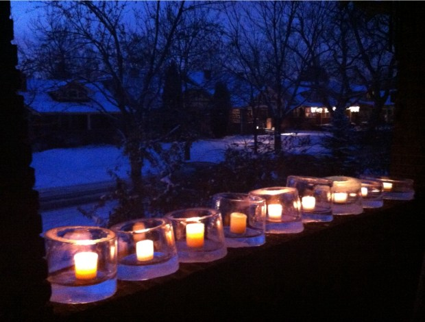 Ice candles can light walkways for your guests at a winter fete or bring cheer to a backyard.
