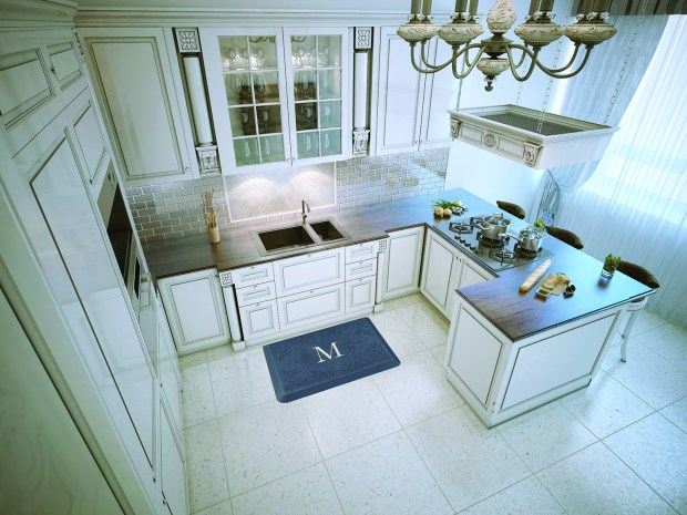 This monogram ergonomic floormat from the Signature Collection by Wellness Matts, also available through Williams & Sonoma, classes up the kitchen while taking some of the back ache out of doing dishes.