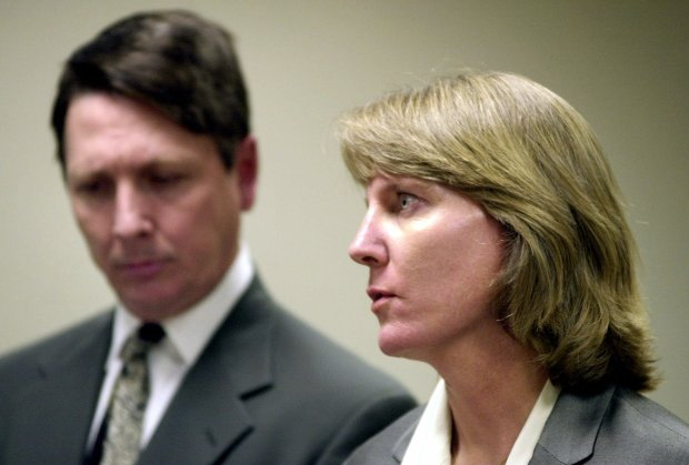 Former Boulder Police detective Linda Arndt, right, talks about the dismissal of her lawsuit against two Boulder Police chiefs during a news conference with her attorney Bruce Jones, left, in Denver on Tuesday, June 12, 2001. Arndt was the first detective who arrived at the Ramsey home on Dec. 26, 1996, after Patsy Ramsey called 911 to report that her 6-year-old daughter was missing and a ransom note was found.