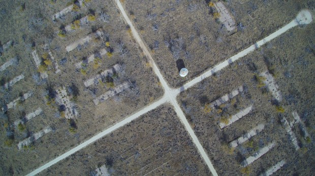 Camp Amache in southeastern Colorado was the smallest of the ten Japanese-American internment camps in the United States. Remains of the camp are seen from above in this Nov. 16, 2016 photo taken using a drone.