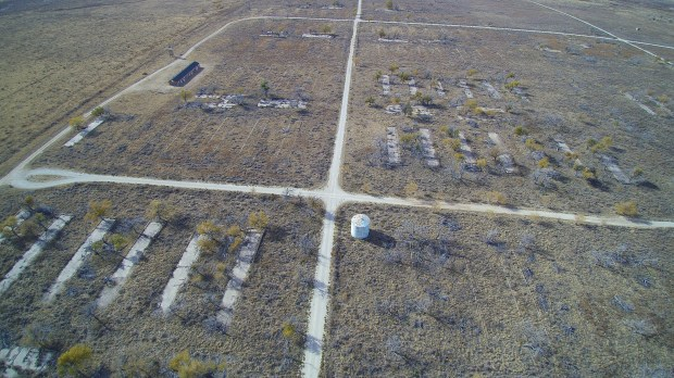 Camp Amache at Granada in southeastern Colorado was the smallest of the ten Japanese-American internment camps in the United States. Remains of the camp are seen here in this Nov. 16, 2016 photo shot with a drone.