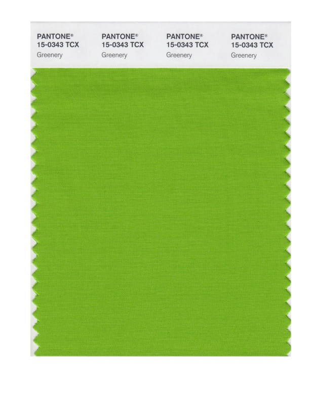 """This image released by Pantone shows a color swatch called """"greenery"""", which has been named as the color of the year for 2017 by the Pantone Color Institute. The vibrant green with yellow undertones is an answer, of sorts, to bruising 2016, signaling a yearning to rejuvenate, and to reconnect to both nature and something larger than oneself, said Laurie Pressman, the institute's vice president."""
