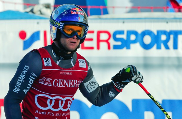 This Thursday, Dec. 29, 2016  file photo of France's Alexis Pinturault wearing a Shred helmet  crosses the finish line of an alpine ski, men's World Cup combined in Santa Caterina, Italy. Ten years after founding Shred _ the ski helmet, eyewear and accessory company known for its 1980s-style fluorescent colors and designs Ted Ligety the Olympic and two-time world champion in giant slalom  has been watching as a proud spectator lately.