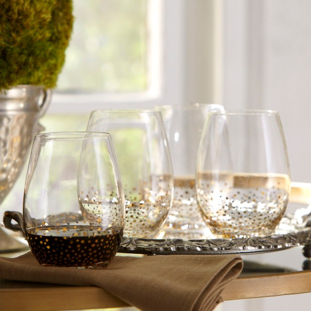Stemless wine glasses from BirchLane.com.