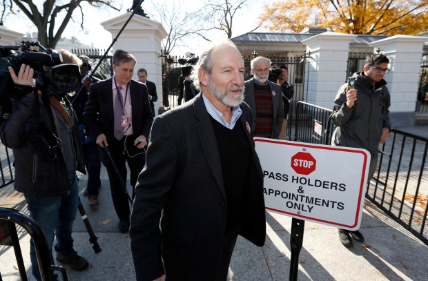 Michael, left, and Robert Meeropol, the sons of Ethel Rosenberg, walk away from a White House gate, as they attempt to deliver a letter to President Barack Obama in an effort to obtain a exoneration for their mother Ethel Rosenberg, in front of the White House, Dec. 1, 2016 in Washington.