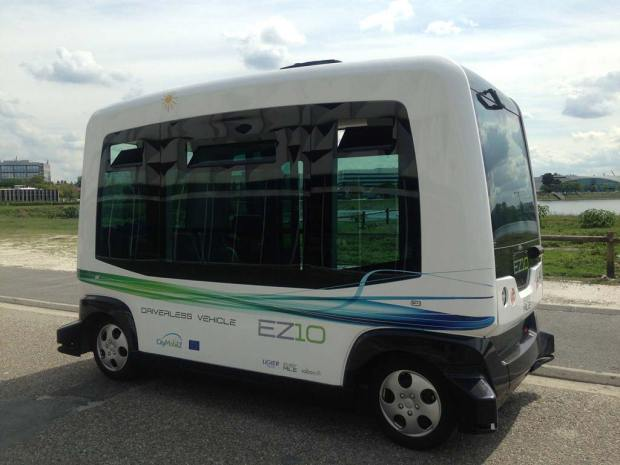 A driver-less shuttle bus built by Easy Mile in France will be used to transport visitors from the Pena Station RTD tracks to Panasonic's facility and parking lot. The all-electric autonomous vehicle hits speeds up to 15 miles per hour so it's not meant for long distance transport.