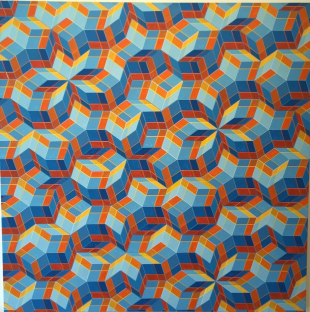 "Clark Richert turns science into art. This is his recent acrylic painting ""Wittens' Complex."" The acrylic painting is 70 inches square."