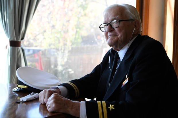 Navy Lt. Jim Downing, 102, sits at his home on November 10, 2016 in Colorado Springs.