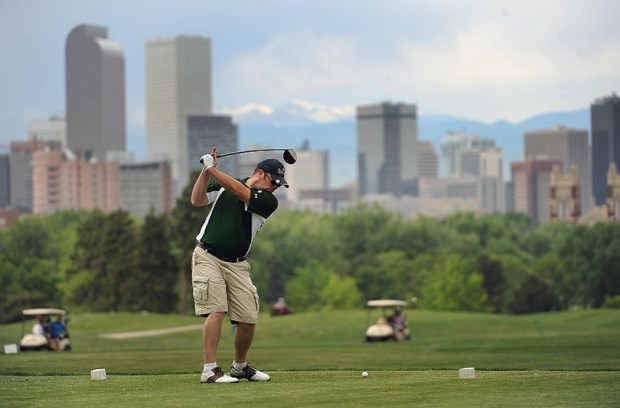 A golfer tees off at City Park Golf Course on May 16, 2012.