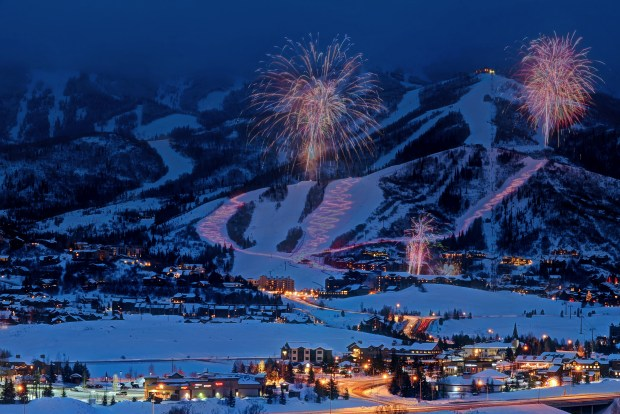 Steamboat Springs celebrates New Year's Eve with a torchlight parade and fireworks.