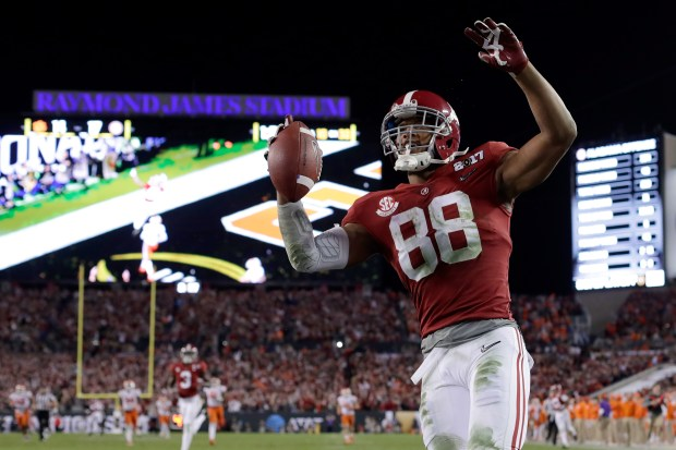 Tight end O.J. Howard #88 of the Alabama Crimson Tide celebrates after scoring a 68-yard touchdown during the third quarter against the Clemson Tigers in the 2017 College Football Playoff National Championship Game at Raymond James Stadium on January 9, 2017 in Tampa, Florida. (Photo by Jamie Squire/Getty Images)